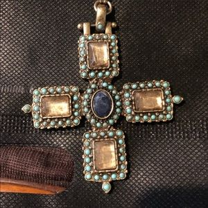 Celtic Cross Turquoise bead rhinestone necklace